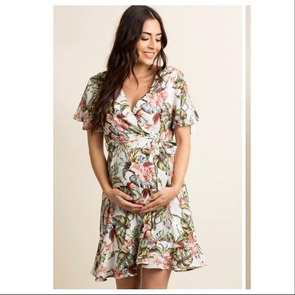64dd8032d6057 Pinkblush Dresses   Maternity Floral Ruffle Trim Wrap Dress   Poshmark